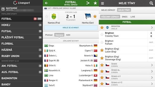 Aplikace Livesport - aktuální sportovní výsledky