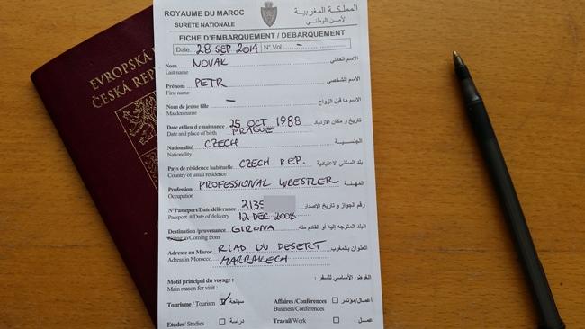 Vstupní formulář do Maroka