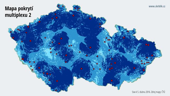 Mapa pokrytí multiplexu 2