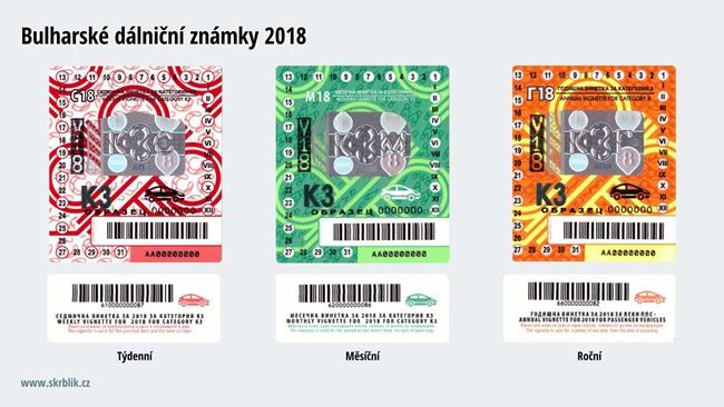 Dálniční známky Bulharsko 2017