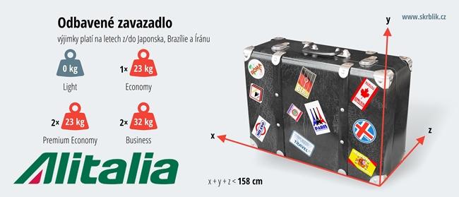 Odbavená (zapsaná) zavazadla u Alitalie 2017