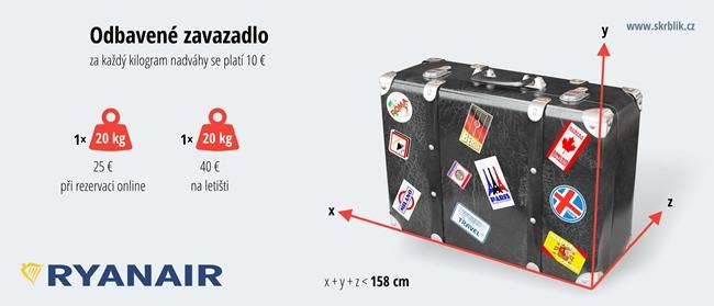 Odbavená (zapsaná) zavazadla u Ryanair 2017
