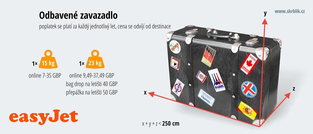 Odbavená (zapsaná) zavazadla u easyJet 2017