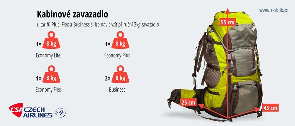 Příruční / kabinová / palubní zavazadla u ČSA 2017
