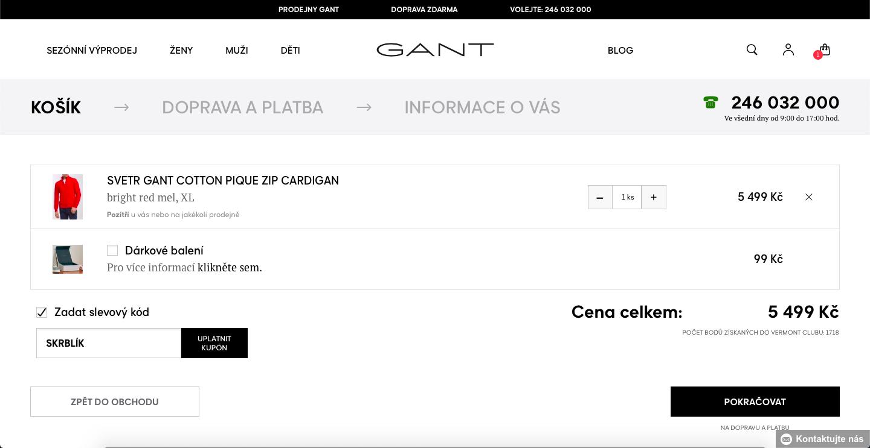 Slevový kód GANT