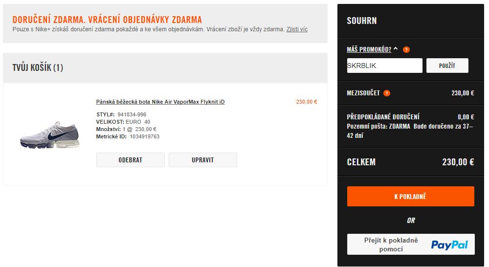 Slevový kód Nike