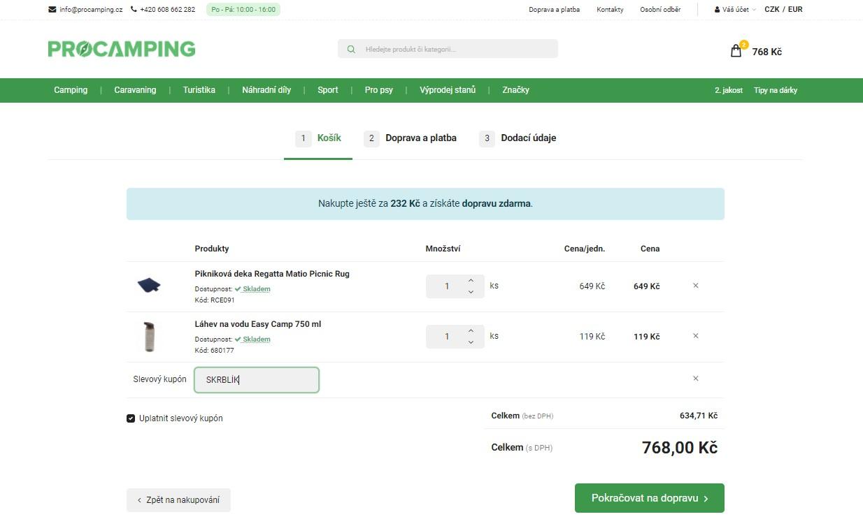 Slevový kupón Procamping.cz – Sleva 150Kč při nákupu nad 1500Kč