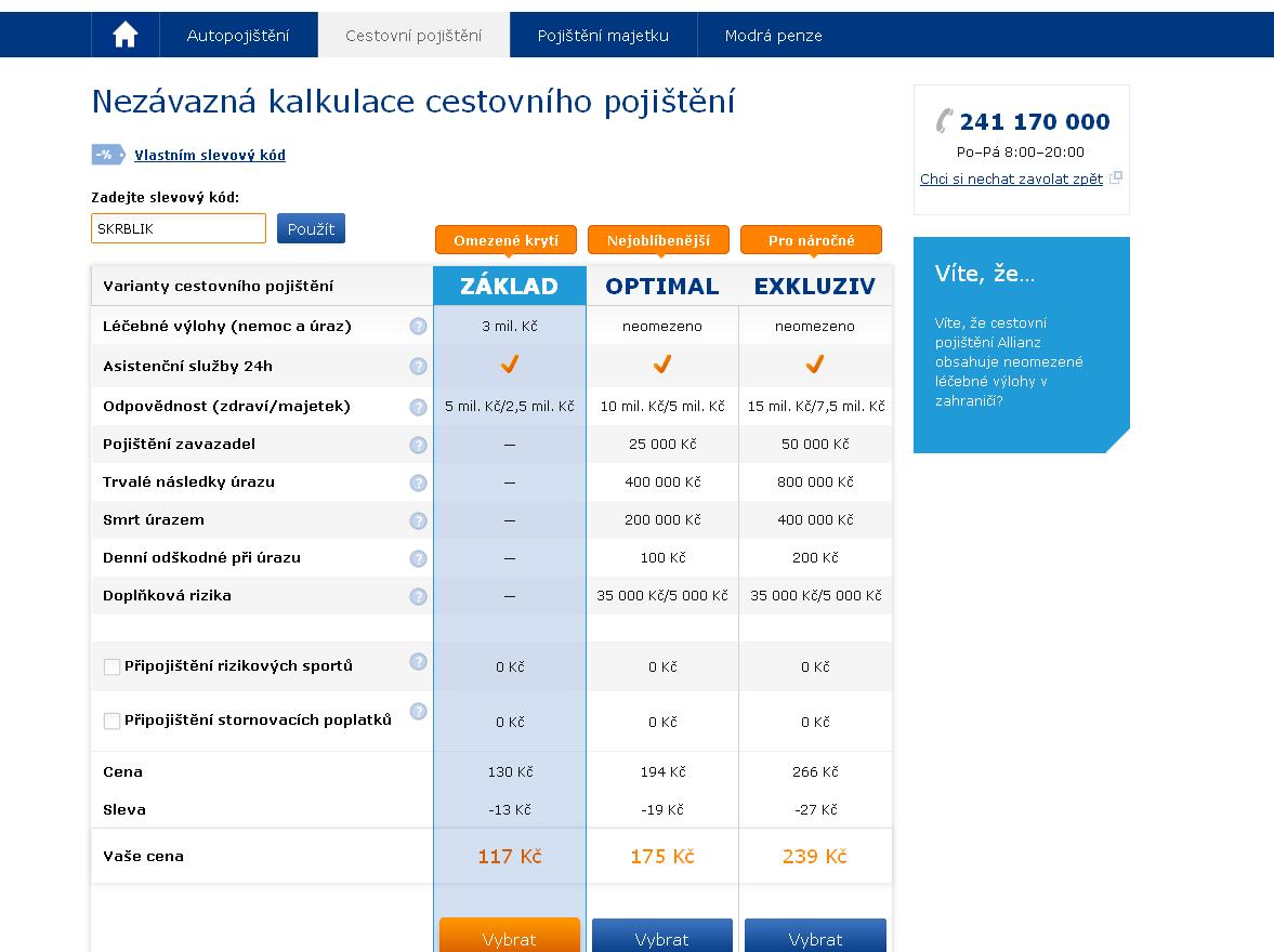 Slevový kupón Allianz / Slevový kód Allianz