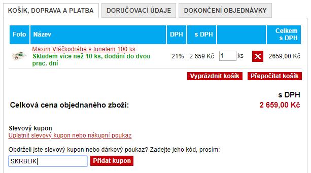 Slevový kód Vláčky.cz