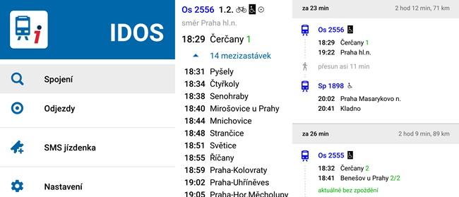 Aplikace IDOS - jízdní řády v mobilu