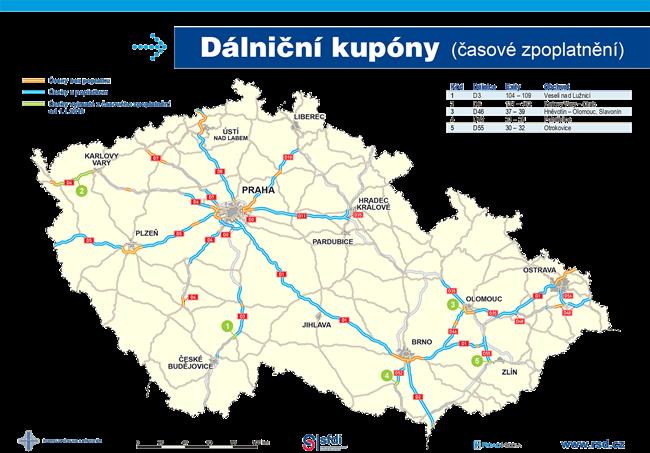 Dálniční kupóny - časové zpoplatnění v ČR 2021