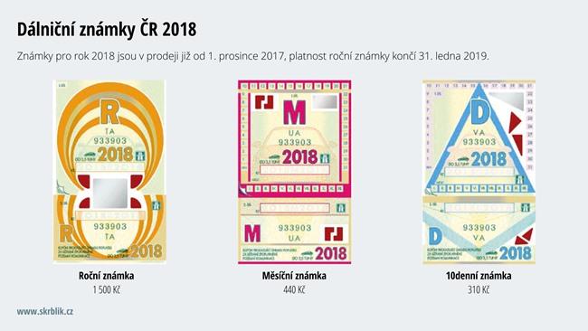 Dálniční známka ČR 2017