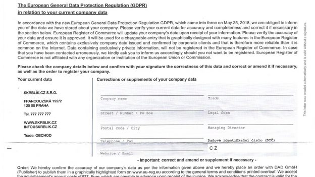 Dopis od European Register of Commerce je podvod: Objednávka za 2931 eur se skrývá za GDPR