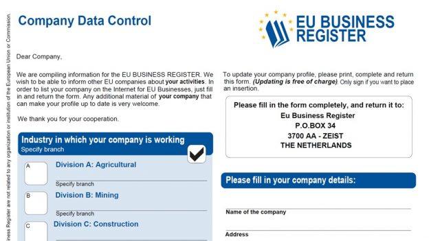 EU Business Register je podvod, odesláním formuláře se zavazujete kplatbě 2985 eur