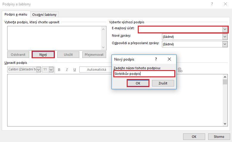 Jak nastavit podpis v Outlooku
