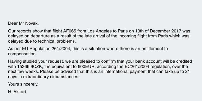 Odškodnění od Air France