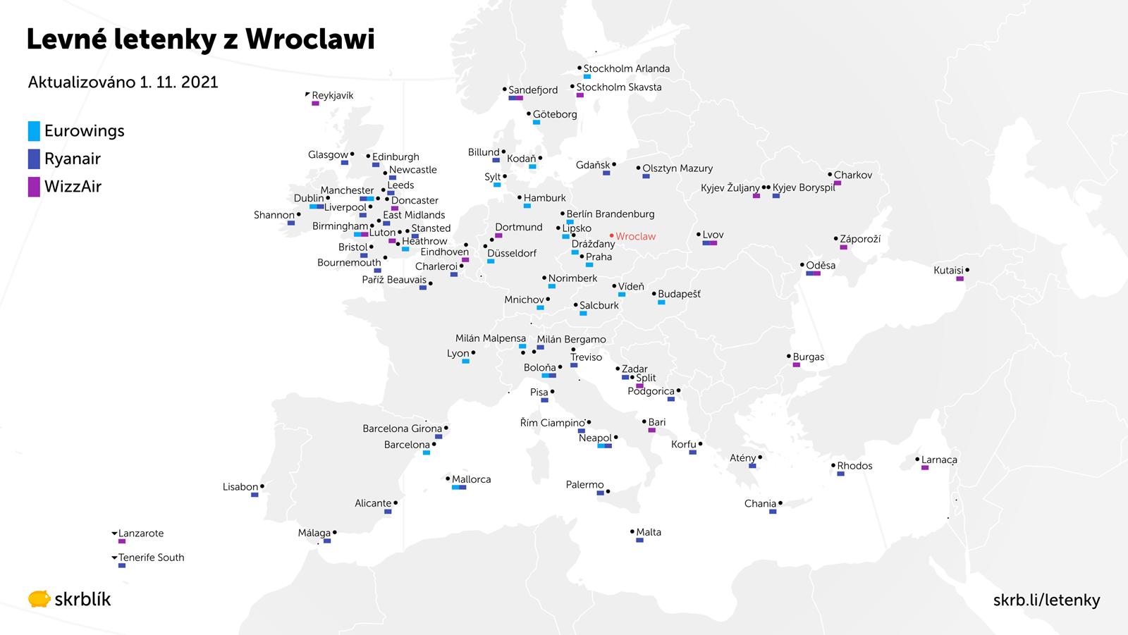 Levné letenky z Wroclawi