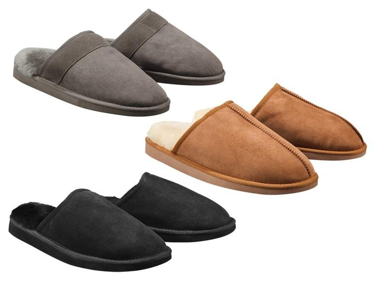 Pánská domácí kožená obuv sovčí vlnou Livergy