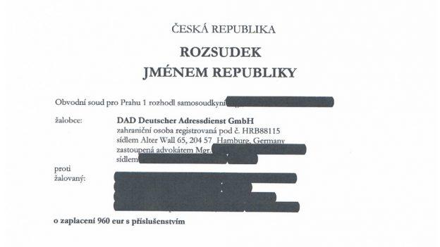Podvodné katalogové firmy: Český soud uznal nárok DAD Deutscher Adressdienst na 52248Kč