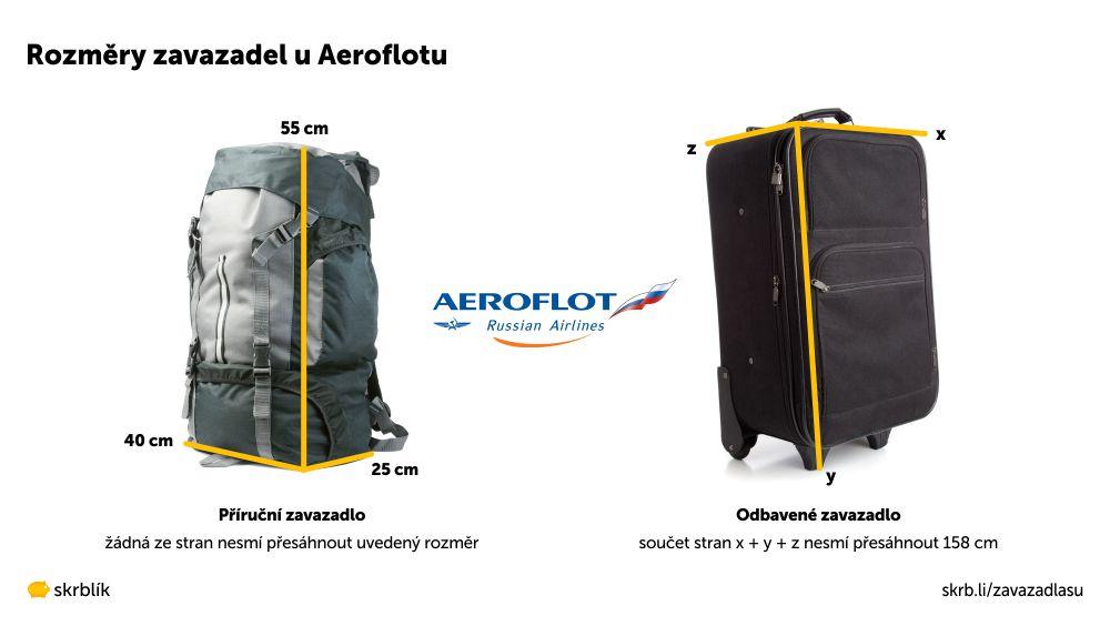 Příruční / kabinová / palubní zavazadla u Aeroflotu 2021
