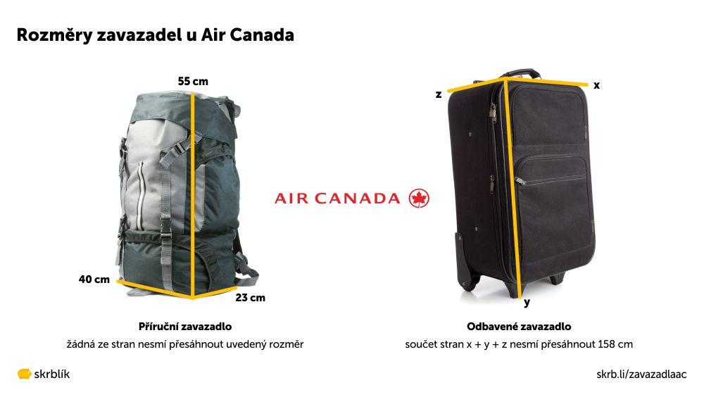 Příruční / kabinová / palubní zavazadla u Air Canada 2021