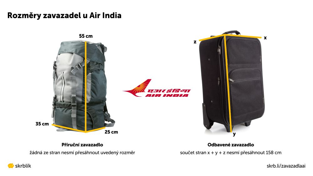 Příruční / kabinová / palubní zavazadla u Air India 2021