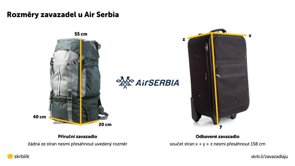 Příruční / kabinová / palubní zavazadla u Air Serbia 2020