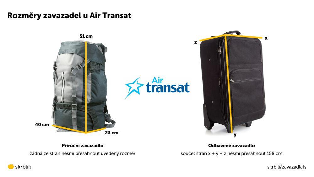 Příruční / kabinová / palubní zavazadla u Air Transat 2021