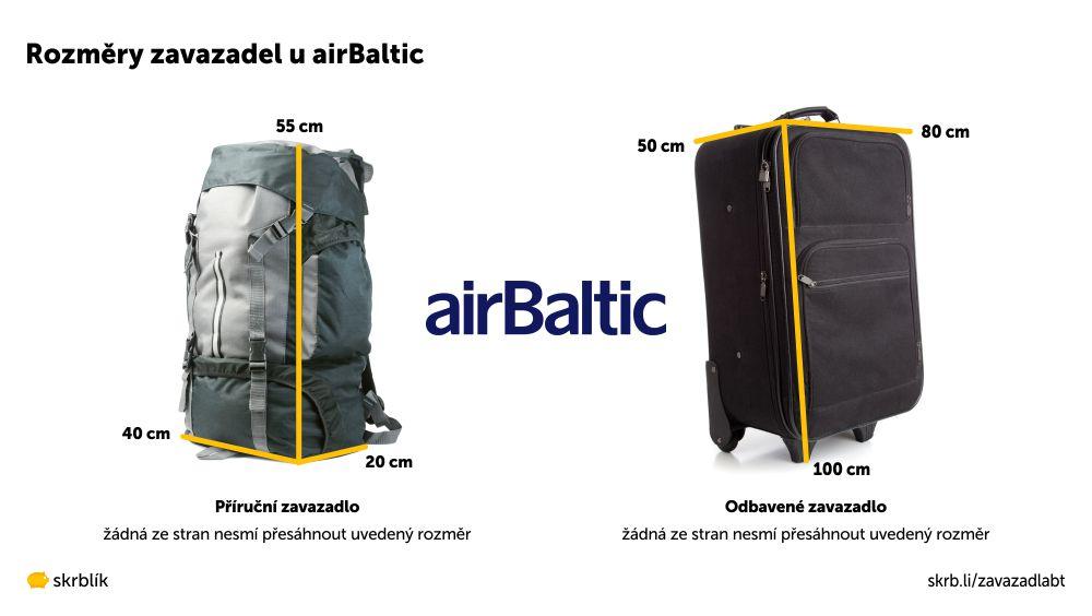 Příruční / kabinová / palubní zavazadla u Air Baltic 2021