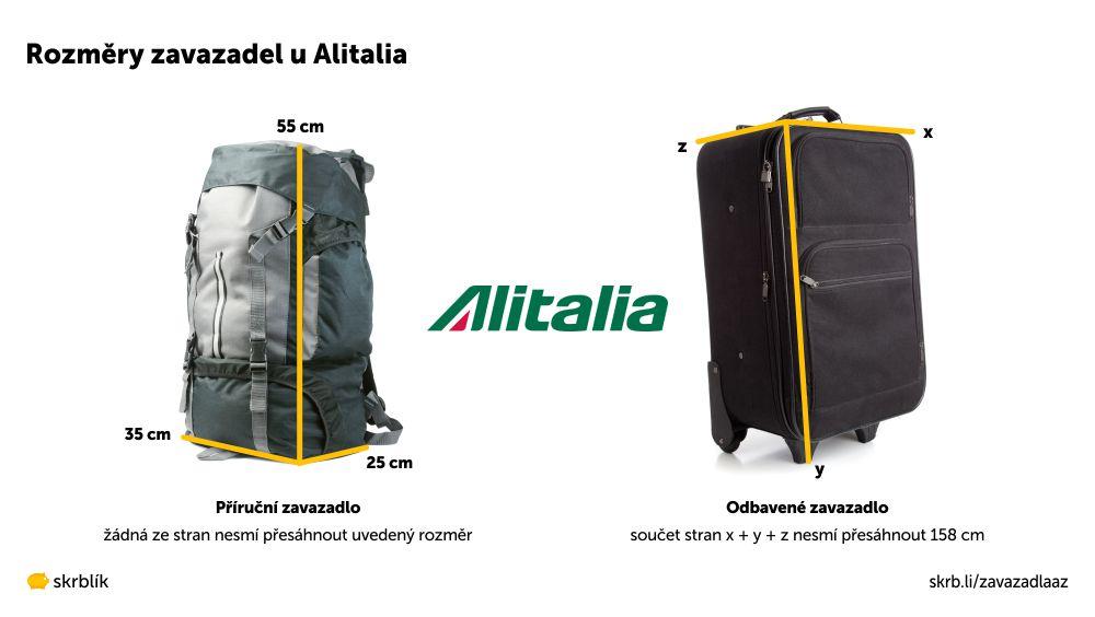 Příruční / kabinová / palubní zavazadla u Alitalie 2021