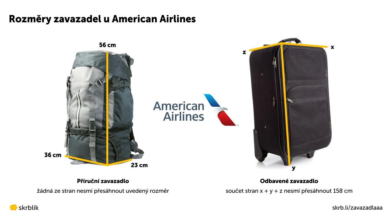 Příruční / kabinová / palubní zavazadla u American Airlines 2021