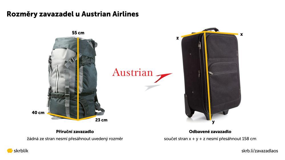 Příruční / kabinová / palubní zavazadla u Austrian Airlines 2021