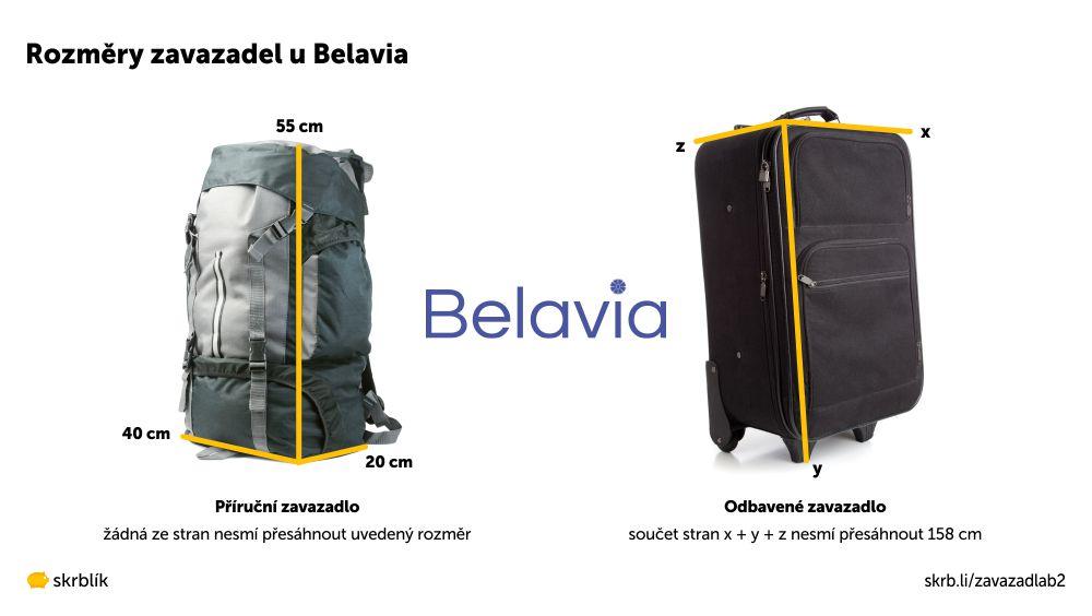 Příruční / kabinová / palubní zavazadla u Belavia 2021