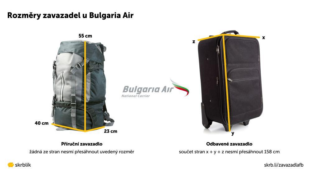 Příruční / kabinová / palubní zavazadla u Bulgaria Air 2021