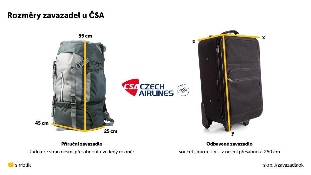 Příruční / kabinová / palubní zavazadla u ČSA 2020