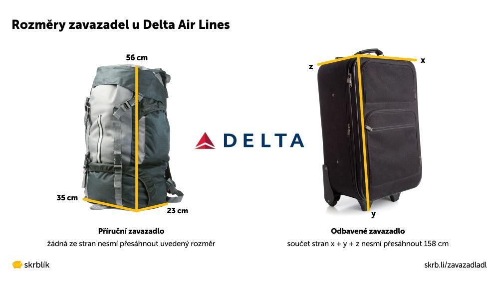 Příruční / kabinová / palubní zavazadla u Delta Air Lines 2020
