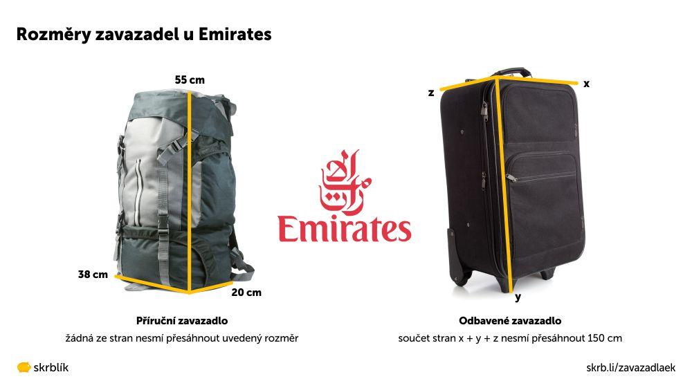 Příruční / kabinová / palubní zavazadla u Emirates 2021