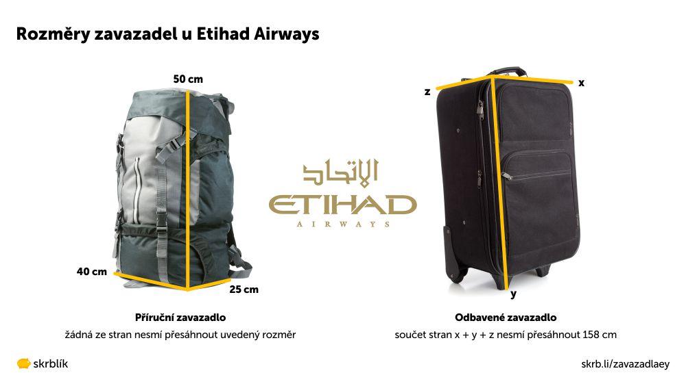 Příruční / kabinová / palubní zavazadla u Etihad Airways 2021