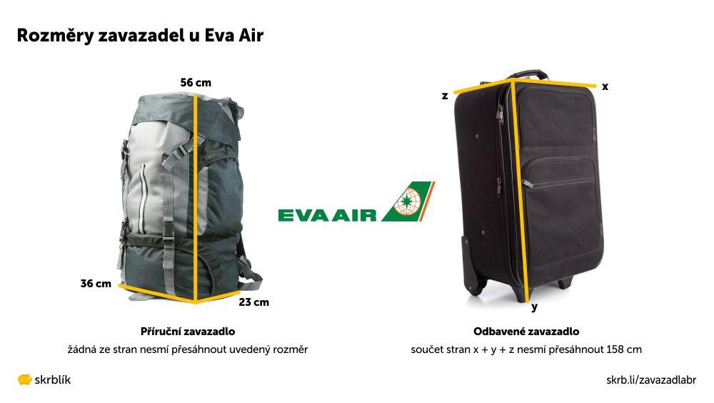Příruční / kabinová / palubní zavazadla u Eva Air 2021