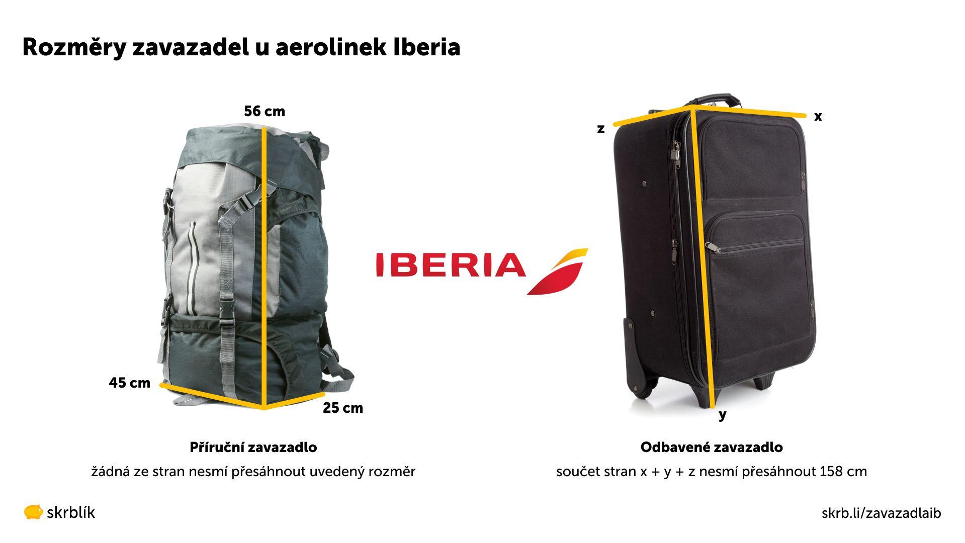 Příruční / kabinová / palubní zavazadla u Iberia 2021