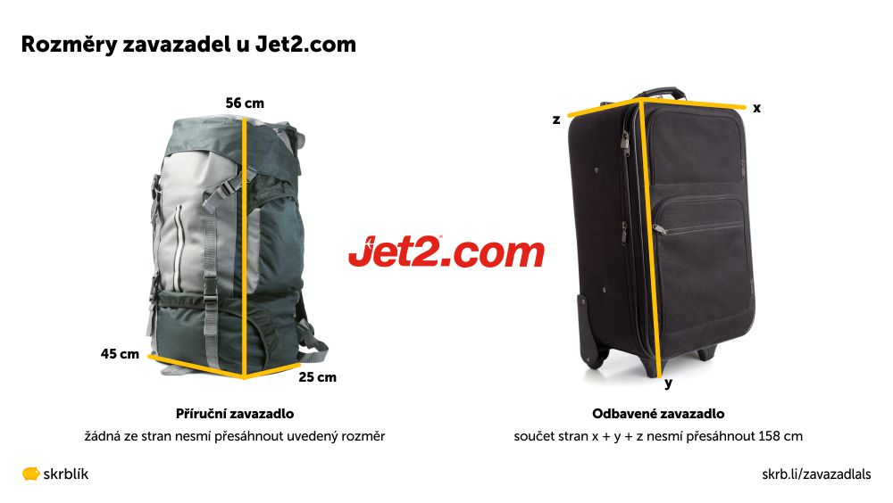 Příruční / kabinová / palubní zavazadla u Jet2.com 2020