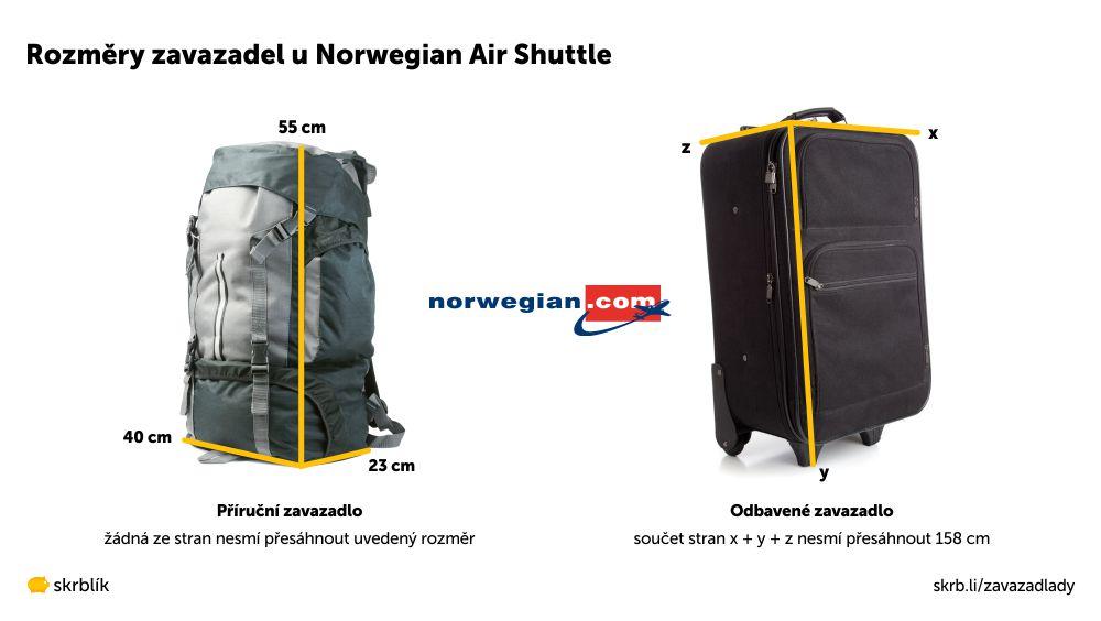 Příruční / kabinová / palubní zavazadla u Norwegian Air Shuttle 2021
