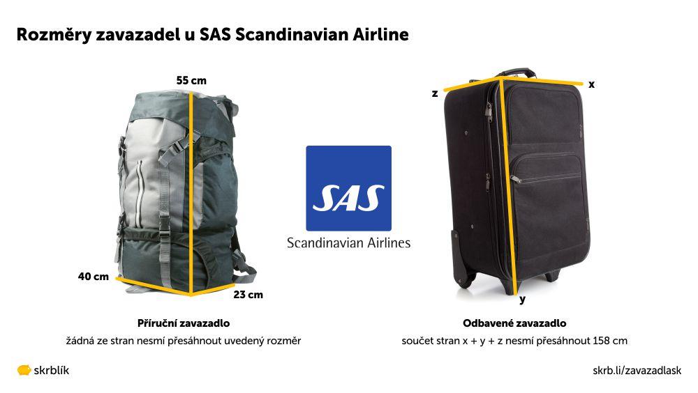 Příruční / kabinová / palubní zavazadla u Scandinavian Airlines 2020