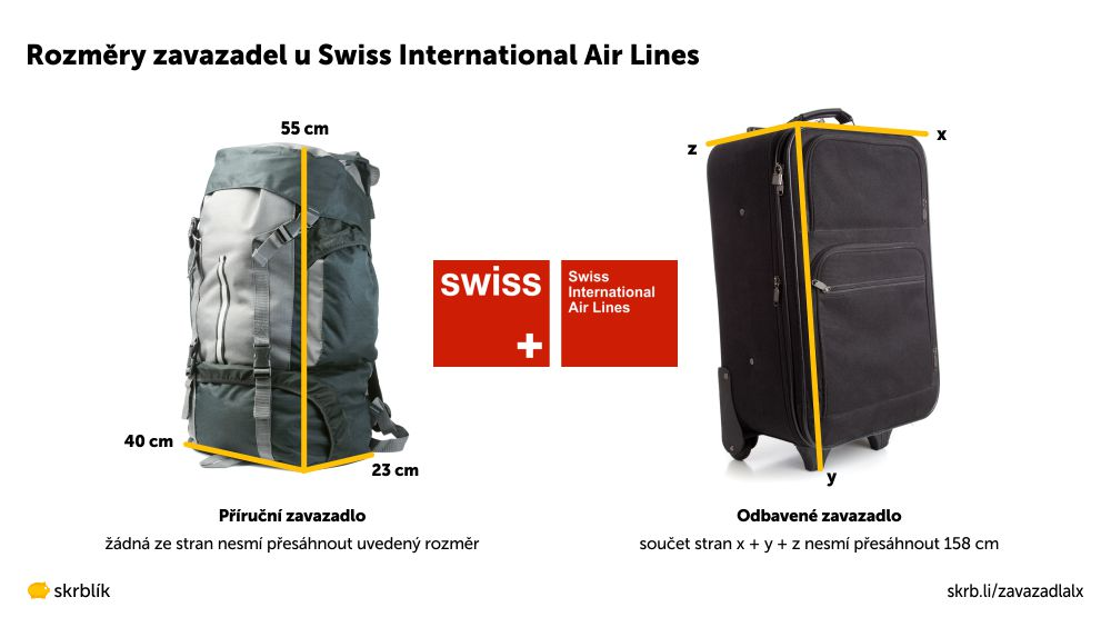 Příruční / kabinová / palubní zavazadla u Swiss Air Lines 2021
