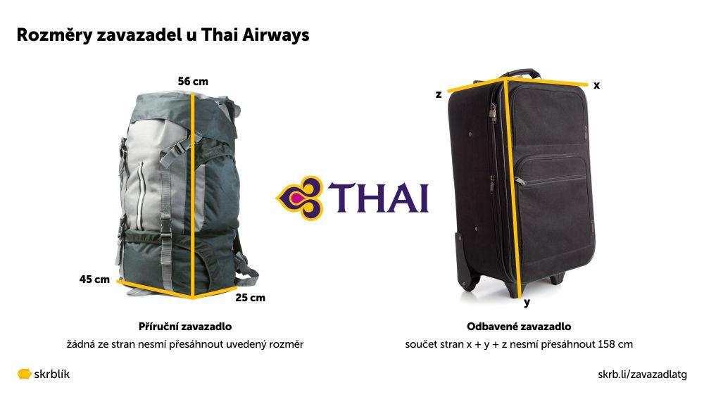 Příruční / kabinová / palubní zavazadla u Thai Airways 2021