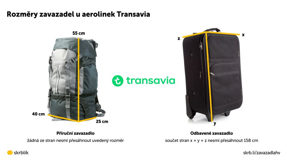 Příruční / kabinová / palubní zavazadla u aerolinek Transavia 2021