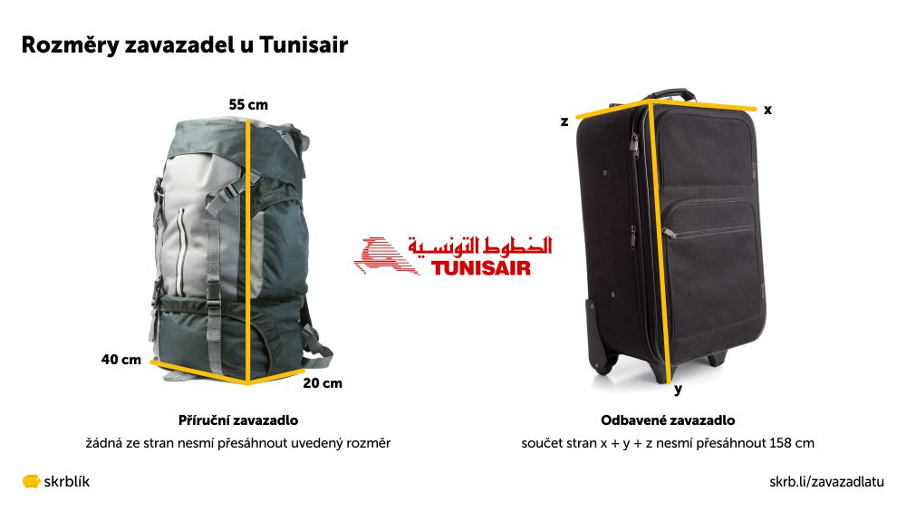 Příruční / kabinová / palubní zavazadla u Tunisair 2021