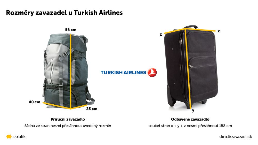 Příruční / kabinová / palubní zavazadla u Turkish Airlines 2021