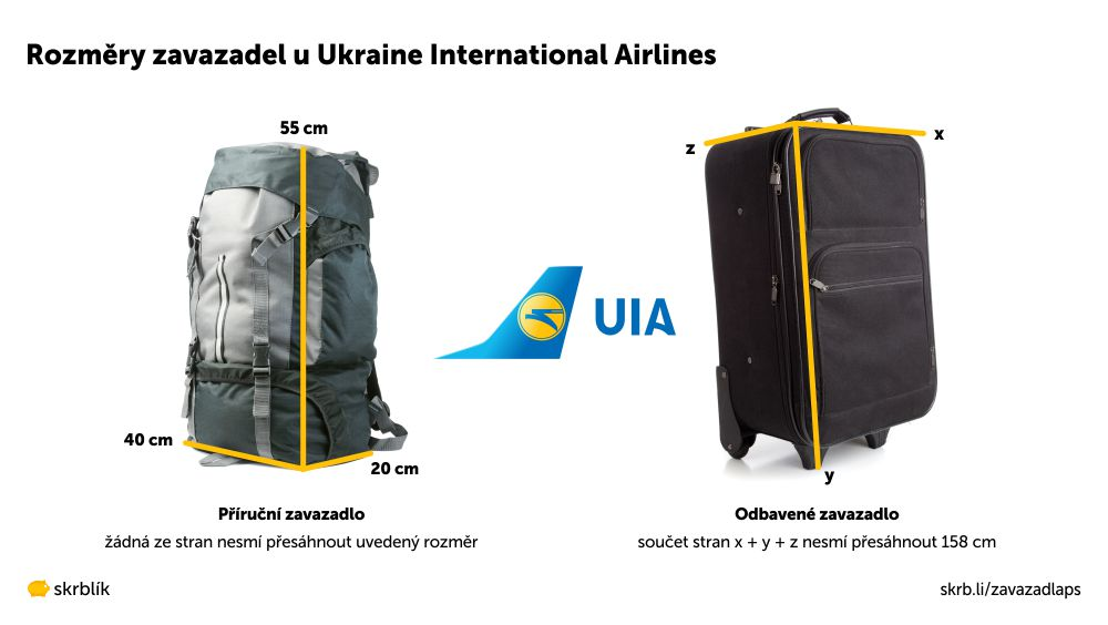 Příruční / kabinová / palubní zavazadla u Ukraine International Airlines 2021