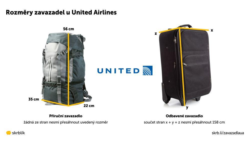 Příruční / kabinová / palubní zavazadla u United Airlines 2020